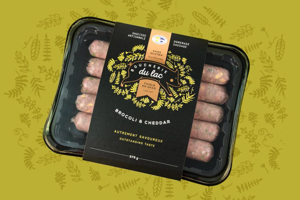 Brocoli et cheddar - Saucisse artisanale - Boucherie du Lac